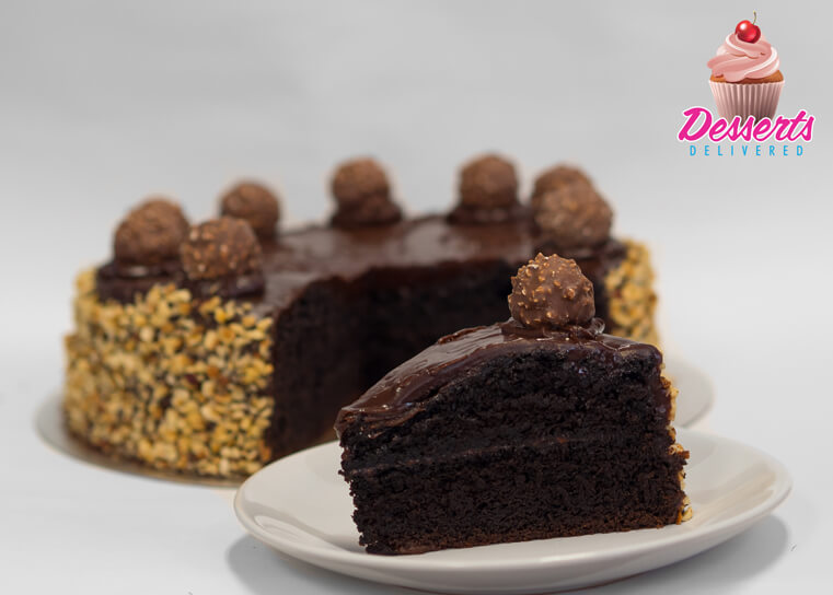 Chocolate sponge with nuts and ferrero rocher cake